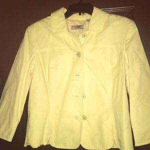 Yellow cropped spring jacket/blazer 100%cotton